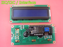 Free Shiipping 2pcs=1lot IIC/I2C + LCD1602 Blue Backlight LCD Display Adapter Plate for ardu