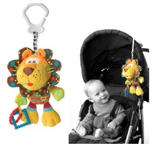 candice guo! Newest arrival baby toy cute lion multipurpose rattle bed hang soft toy gift 1pc