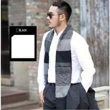 Men Scarf  Wool Men's Fashion Long Shawl Big Grid Winter Warm Lattice Large Scarf