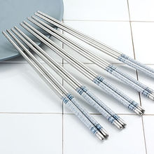5 Pairs Blue and White Stainless Steel Chopsticks Gift Set Assorted Chop Sticks