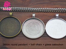 10kits 38mm Pendant Base, Round Cabochon Setting, Blank Pendant Tray + Ball Chain Necklace + Clear Glass Cabochon
