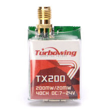 Turbowing TX200 5.8G 200mW 40CH Mini Wireless AV Transmitter for RC Drone FPV Racing Quadcopter
