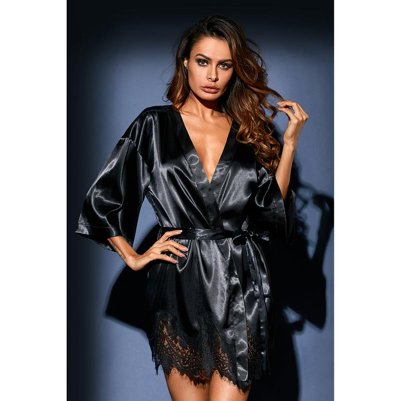 Dreszdi Sexy Red Women Nightwear Cardigan Tops Half Sleeve Blue Scalloped Kimono Blouse Black Satin Lace blusa feminina (14)