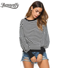 Benuynffy 2017 autumn winter ladies casual lantern sleeve jumper pull femme knitted striped sweater women sweaters and pullovers(China)