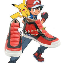 Pocket Monsters XY Ash Ketchum red black ver 1 cos Cosplay Shoes Boots shoe boot  #NC994 anime Halloween Christmas