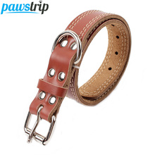 Strong Genuine Cow Leather Pet Dog Collar Solid Color Double Lines Large Dog Collar 2.5/3.0/3.5 Width(China)