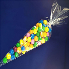 50pcs 18*37cm Candy Cone Clear Sweet Chocolate Cupcake Wrapper Birthday Party Favor Gifts Display Cello Bags Decoration