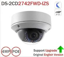 upgradeable HIK PoE IP Camera DS-2CD2742FWD-IZS Audio 4MP WDR Motorized Vari-focal Lens Dome Network IP Camera IK10