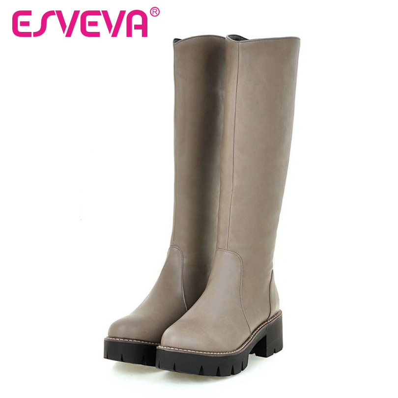 ESVEVA 2017 Punk  Autumn Square Heel Shoes Women Knee High Boots Round Toe  Fashion Boots  Chunky Heel  Riding Boots Size 34-43<br><br>Aliexpress
