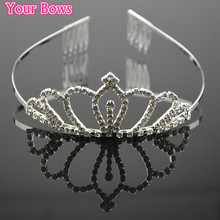 1PC Princess Crown Bride Pageant Crowns Hair Bands Queen Diadem Quinceanera Crowns Accessories Wedding Hair Bands For Brides(China)
