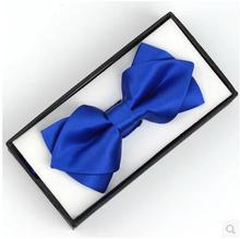 Promotion Men's Bow Tie  Pocket Square Set Hanky Set Solid Color Box Packing Gentlemen Formal Accessories Neck Tie Handkerchief