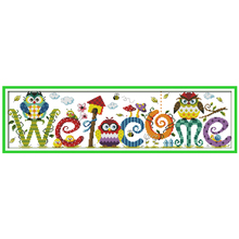 The Owl Welcome Card Patterns Counted Cross Stitch 11CT 14CT Cross Stitch Sets Chinese Cross-stitch Kits Embroidery Needlework(China)