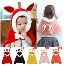 hot new autumn kids baby cape bunny pattern tan/red hooded plaid children Coat jackets baby girl cape cloaks winter outwear(China)