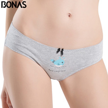 BONAS Cotton Underwear Women's Briefs For Girls Bow Low Rise Waist Print Style Femme Seamless Polyester Big Size Female Panty(China)