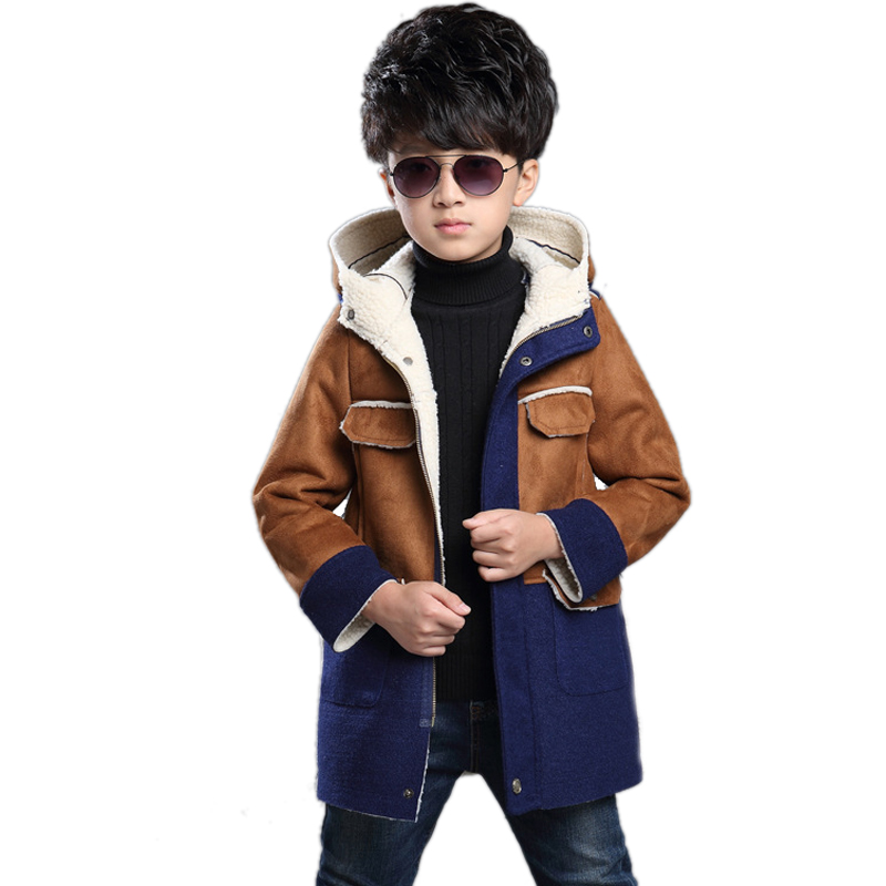 Big Children Blazer 2017 Winter Children s Clothing Boys Imitation Suede Coat Thick Lambs Wool Coat Cotton Jacket Kids Clothes<br><br>Aliexpress