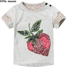 Little maven kids brand clothing 2017 summer girls short sleeve O-neck t shirt Cotton strawberry printing brand tee tops L022