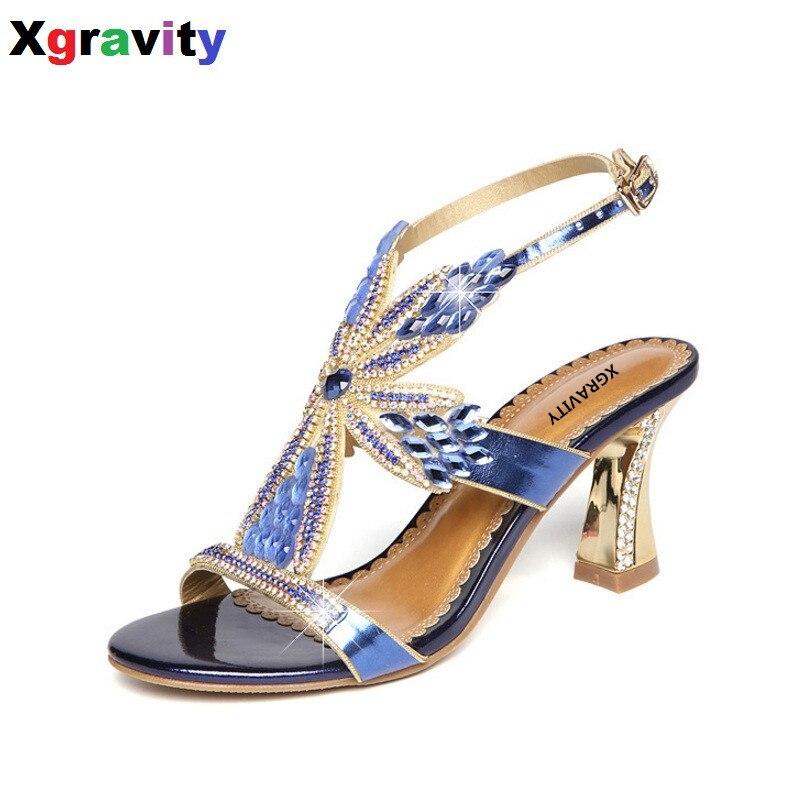 Elegant Lady Sexy Party Shoes New Ladies Chunky Heel 5 CM Sexy Crystal Rhinestone Design Women Shoes Elegant Ladies Sandals B269<br>