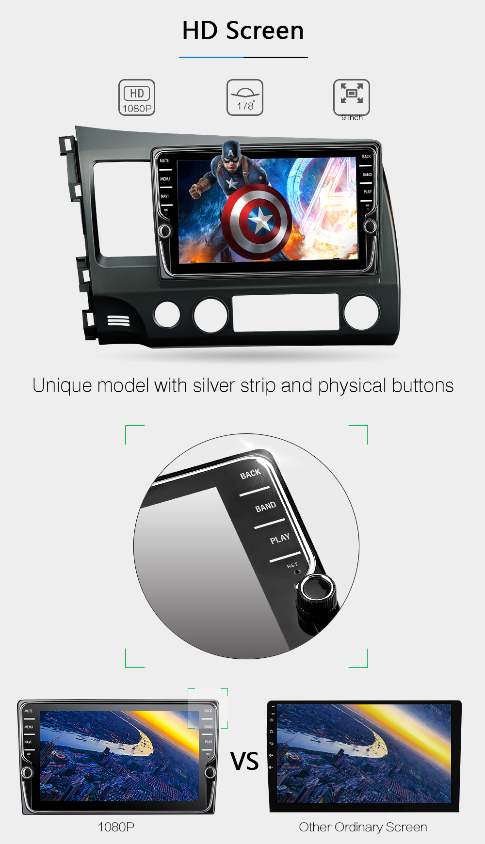 Android 8.0 octa core 4GB RAM car dvd player for HONDA CIVIC 2006 2011 LHD ips touch screen head units tape recorder radio