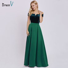 Dressv hunter evening dress cheap a line short sleeves off the shoulder wedding party formal zipper up evening dresses(China)