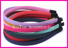 10PCS Assorted colors 10mm Chiffon Fabric Covered plain Metal Hair Headbands for DIY Hair jewelry,BARGAIN for BULK