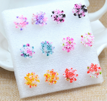 6pair/set Daisy Resin Small Ear Stud Earrings Set For Women  Fashion Girl Cheap Summer Jewelry Flower Earrings Colored Gifts