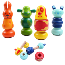 Hot Cartoon Animal Screw Blocks Wooden Nut Assembling Blocks Kid's Children Educational Nut Combination Toys 992367(China)