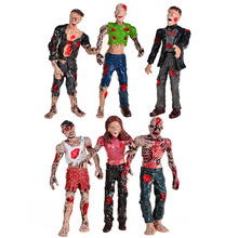 6PCS Zombie Walking Dead Dolls Action Figures Toys Static Model Of Movable Joints.