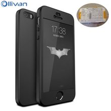 Ollivan full protection case for Iphone 5s Case 360 degree 3in1 Hard PC cover case coque for iphone 5s se case Fundas with Glass