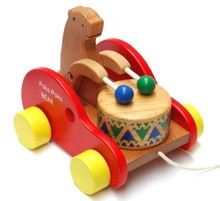 store Recommend bear wooden car toy beat drum high quality best gift for baby kids toys 17*15