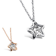 Fashion Jewelry Girl's Women Pendant Necklaces in silver color Rose Gold color with stainless steel Chain(China)