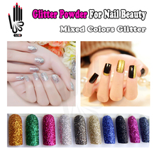 Nail Glitter 6 Colors/lot in 1 Bag Glitter Powder Mixed 12 Color 3D Colorful Glitter Mate's Nail Polish For Nail Art Decoration