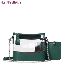 FLYING BIRDS Jelly Chain Bag Women's messenger Bags Transparent bucket Handbags Top Quality Female Designer Chain Tote Fashion(China)