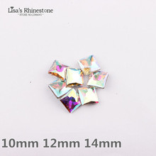 Crystal Clear AB Color  4447 Princess Square Glass Crystal Fancy Stones For DIY Jewelry Making 10mm,12mm,14mm