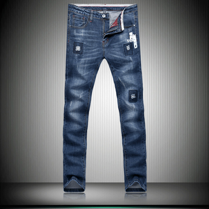 2017 new style men jeans Mens casual fashion embroidery decorate jeans Men high quality blue straight jeans size 28-36Одежда и ак�е��уары<br><br><br>Aliexpress
