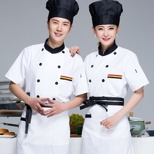 Chef Wear Short Sleeved Uniforms Hotel Cake Pastry Kitchen And Half Sleeve Overalls Chinese Chef Work Clothes Shirt J149(China)
