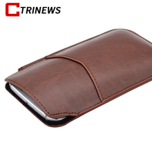 Universal Portable Phone Pouch Bag Rope Holster Leather Case Pull Tab Pouch Bag Mobile Phone Cover Sleeve Case For Samsung S6 S5