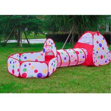 3pcs/set Foldable Kids Toddler Tunnel Pop Up Play Tent Toys For Children Indoor Outdoor Playhouse Kids Play Gaming Toys(China)