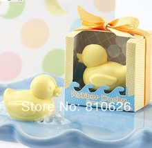 Free shipping 40 pcs baby shower favor gift duck scented soap savon wedding soap favors wedding gifts wedding souvenirs