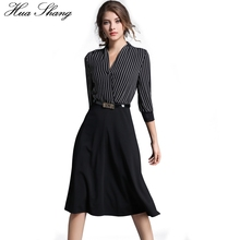 2017 Autumn Women V Neck Striped Dress Three Quarter Sleeve High Waist Women Work Office Dress Black Patchwork Midi Party Dress(China)
