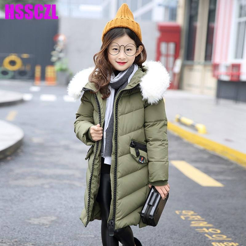 HSSCZL Girls Down Jacket Winter Thick 2017 Brand Hooded Girl Long Coats Big Fur Collar Children jacket Overcoat outerwear parkasÎäåæäà è àêñåññóàðû<br><br>