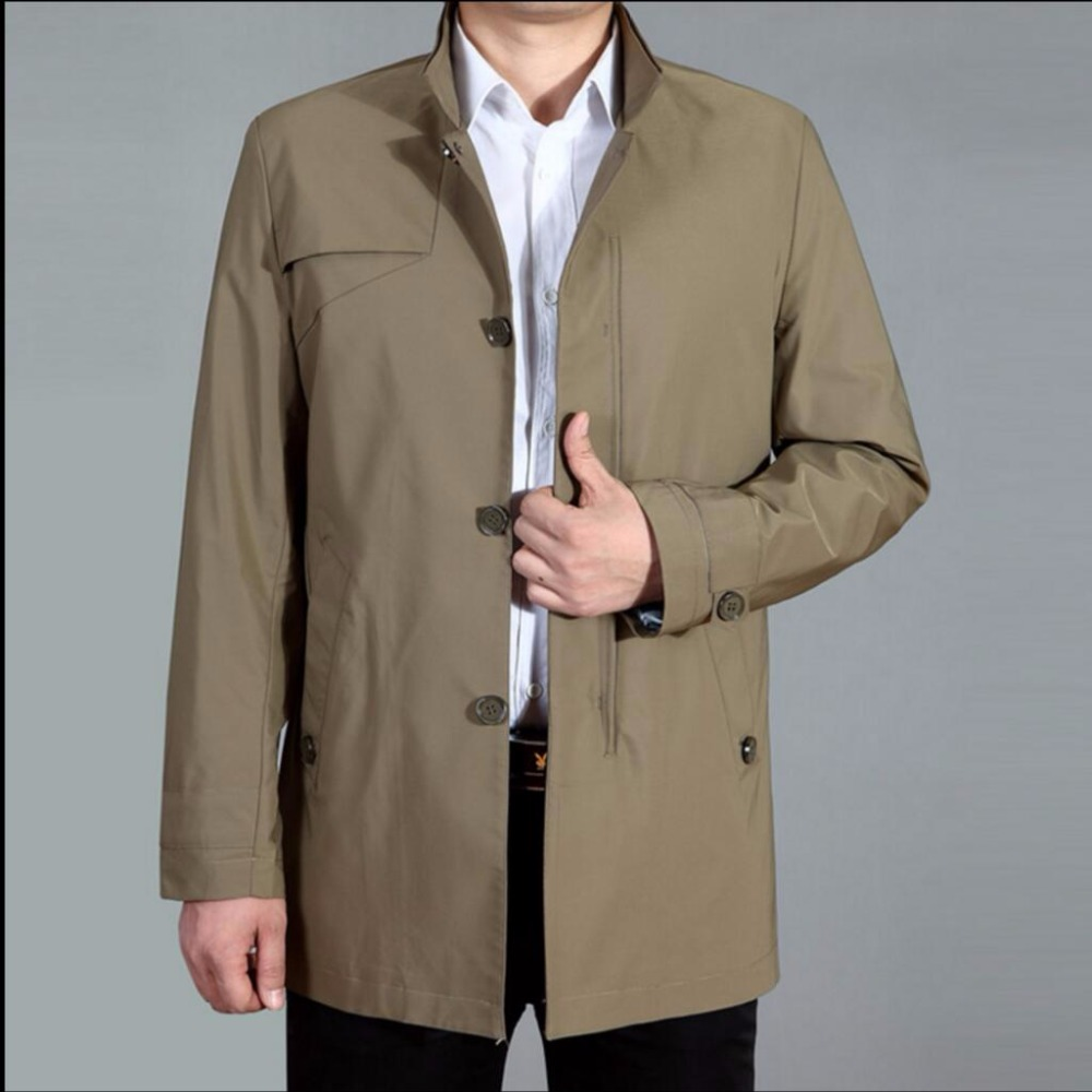 M-4XL 2019 New Spring windbreaker men casual long trench coat stand collar overcoat middle-aged windbreaker plus size jacket