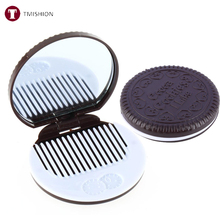 Portable Mirror Cute Chocolate Cookie Shaped Makeup Mirror With 1 Comb Folded espelho de maquiagem Party Make Up Cosmetic Tools