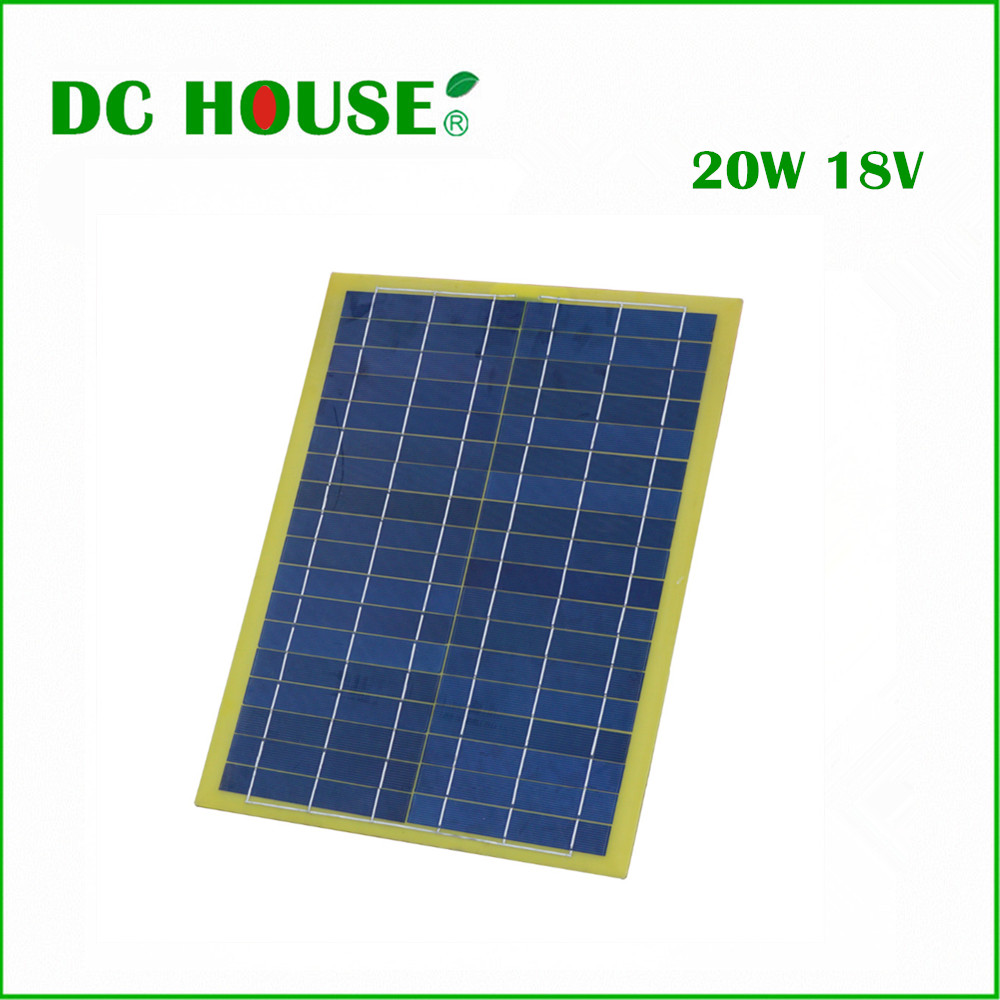 ECO-SOUCES 20W Epoxy Solar Panel 12V Polycrystalline Poly Solar Panel for Charge 12V Battery Solar Generators<br>