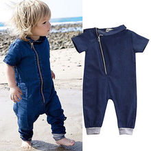 2016 Baby Boys jeans Clothes Denim short sleeve solid Romper  Jumpsuit Outfits One pieces