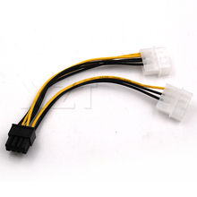 Hotest 2 IDE Dual 4pin Molex IDE Male to 8 Pin Female PCI-E Y Molex IDE Power Cable Adapter Connector for video card