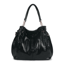 Premium Snake Skin Tote Bag Luxury Handbags Women Bags Designer Tassel Shiny Shopper Bag Genuine Leather Female bolso Black,Blue