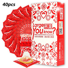 Buy 40pcs (4 boxes) Plus Size Condones Mingliu 55mm large Condoms Natural Latex Ultra Safe Penis Sleeve Contraception Tool Men