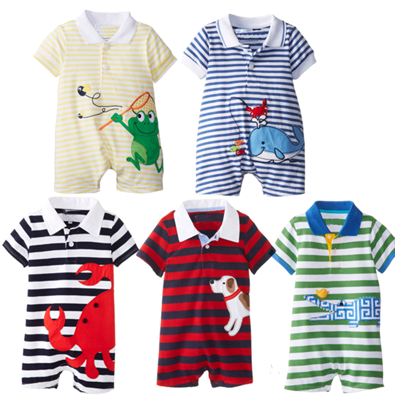 Baby Rompers Hot Summer New Baby Boys Polo Clothes Cartoon Animal Casual Stripe Short-sleeved Jumpsuits Toddlor Infant Clothing(China)