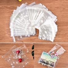 100 pcs/lot New Arrial DIY white snow adhesive bag cookies Gift Bags for Christmas Party Candy Food&Handmade soap Packaging bags(China)