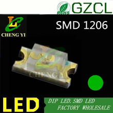High intensity Pure Green smd led 505-530nm 3.0-3.5V(1206 LEDs)high quality led diode(China)